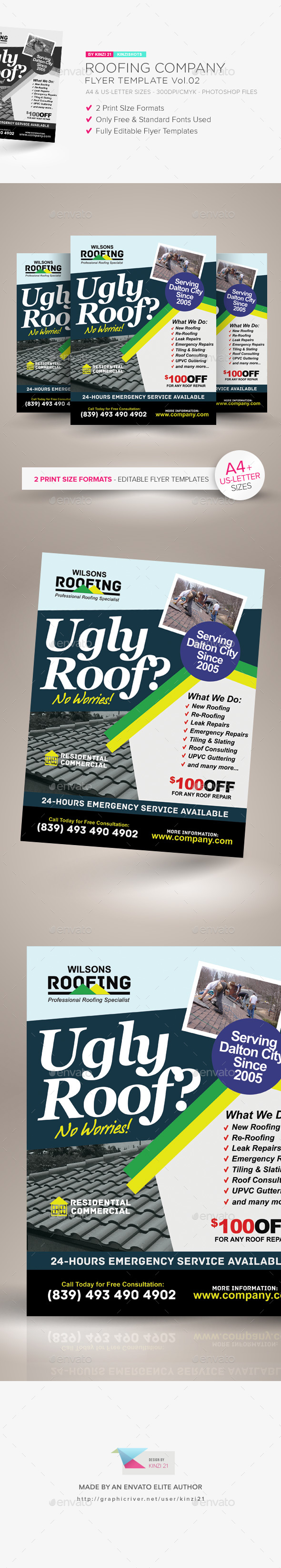 Roofing Company Flyer Template Vol.02 - Corporate Flyers