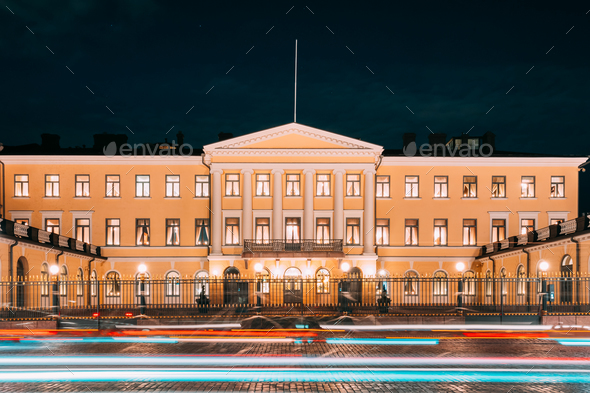 Helsinki, Finland. Presidential Palace In Evening Illuminations. - Stock Photo - Images