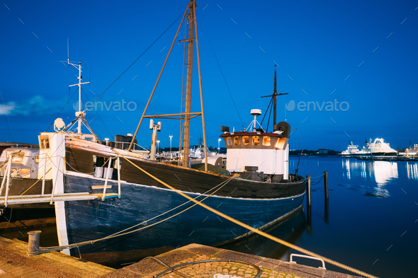 Helsinki, Finland. View Of Fishing Marine Boat, Powerboat At Pie - Stock Photo - Images
