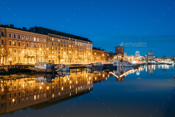 Helsinki, Finland. View Of Pier With Boats And Pohjoisranta Stre - Stock Photo - Images