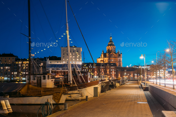 Helsinki, Finland. Pier With Boats, Pohjoisranta Street And View - Stock Photo - Images