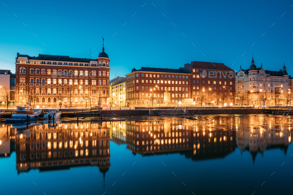 Helsinki, Finland. View Of Pohjoisranta Street In Evening Or Nig - Stock Photo - Images