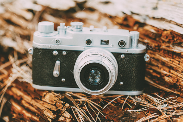 Old Vintage Small-Format Rangefinder Camera, 1950-1960s. - Stock Photo - Images
