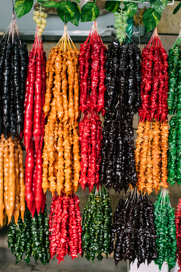 Colorful Churchkhela Is A Traditional Georgian Sausage-shaped Ca - Stock Photo - Images