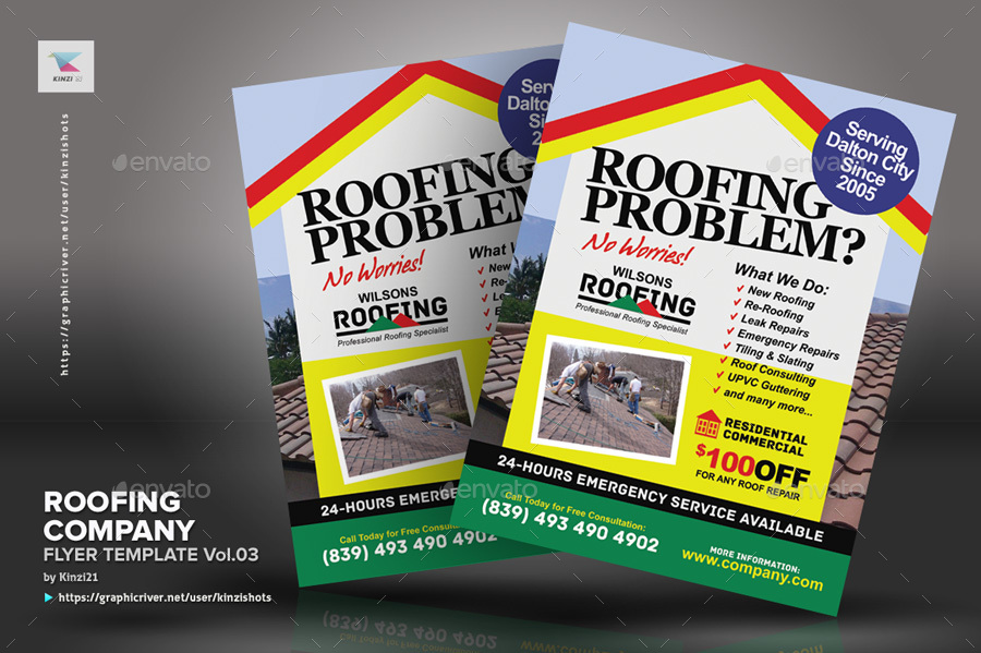 Roofing Company Flyer Template Vol 03 By Kinzishots