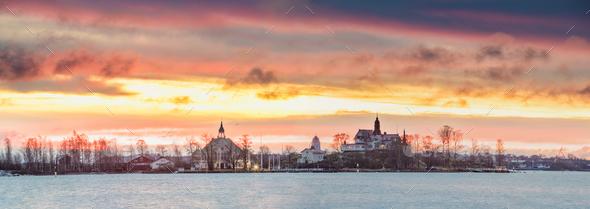 Helsinki, Finland. Panoramic View Of Sunrise Landscape Of Blekho - Stock Photo - Images
