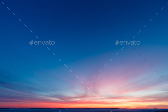 Natural Sunset Sunrise Over Field Or Meadow. Bright Dramatic Sky - Stock Photo - Images