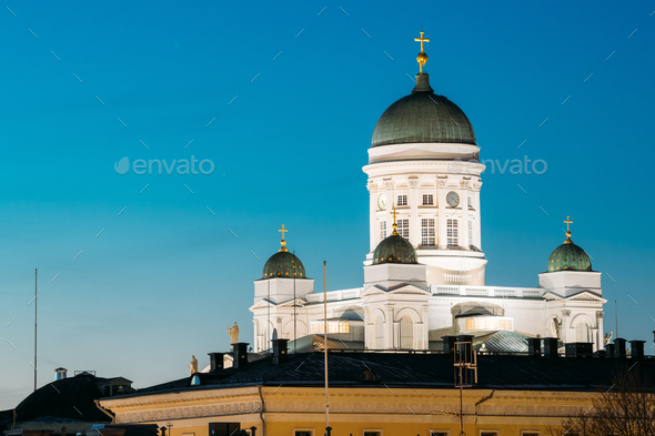 Helsinki, Finland. Senate Square With Lutheran Cathedral And Mon - Stock Photo - Images