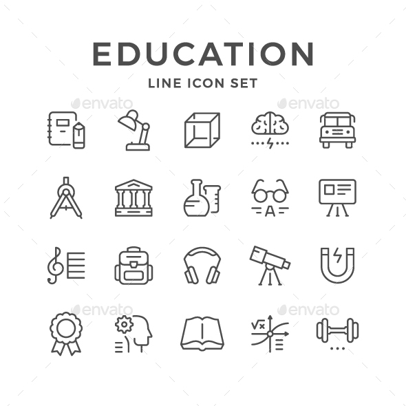 GraphicRiver Set Line Icons of Education 21187578