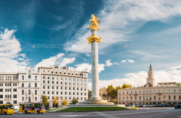 Tbilisi, Georgia, Eurasia. Liberty Monument Depicting St George - Stock Photo - Images