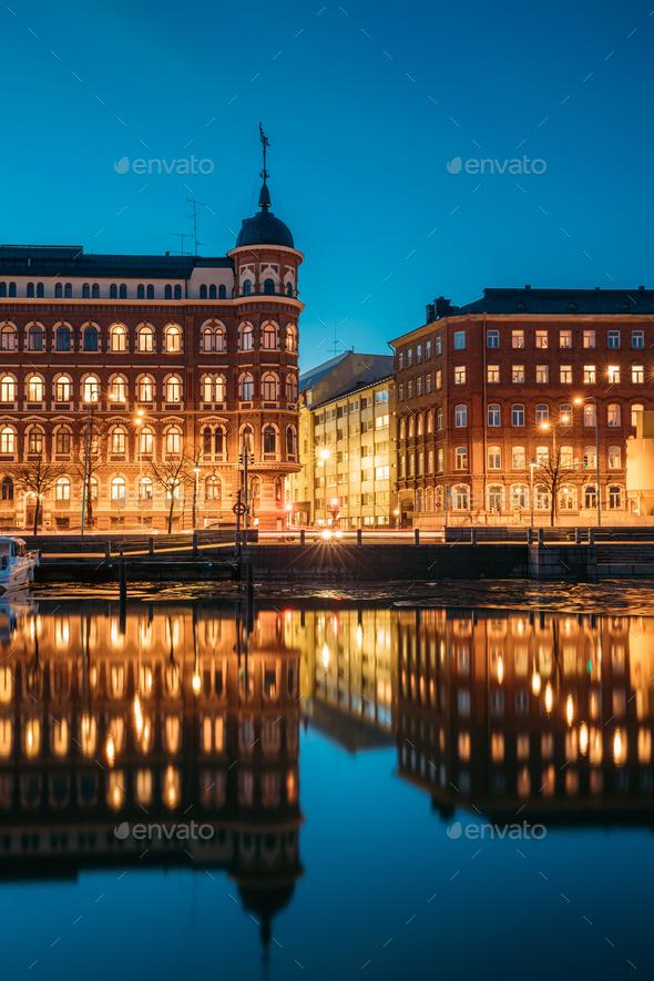 Helsinki, Finland. Crossroad Of Pohjoisranta And Kirkkokatu Stre - Stock Photo - Images