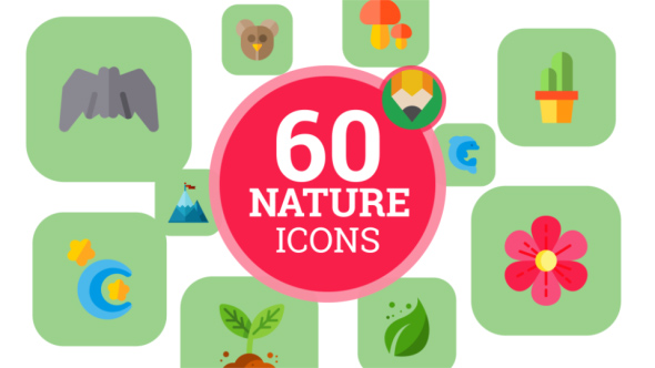 VideoHive Icons Pack Nature Animal Plant Insect Flat Animated Icons 21187757