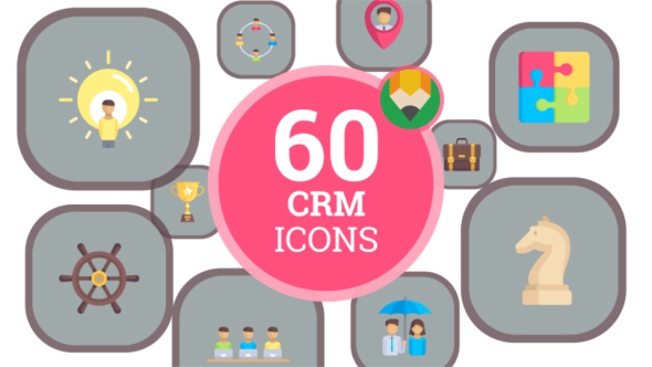VideoHive Icons Pack CRM Customer Relation Management Flat Animated Icons 21187762