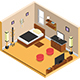 Vector Isometric Bedroom Interior Design