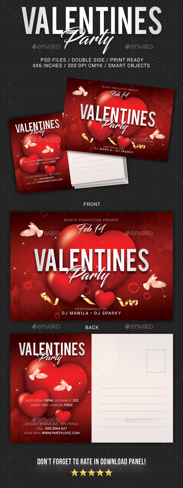Valentines Day Party Postcard - Cards & Invites Print Templates