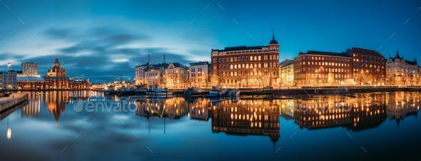 Helsinki, Finland. Panoramic View Of Kanavaranta Street With Usp - Stock Photo - Images