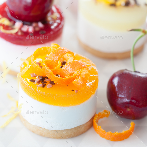 Little cheese cakes with fruits - Stock Photo - Images