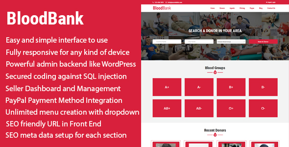 BloodBank - Blood Donor Directory CMS with PayPal Integration Best Scripts