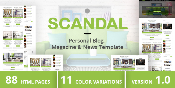 ThemeForest SCANDAL Personal Blog Magazine & News Template 21002775