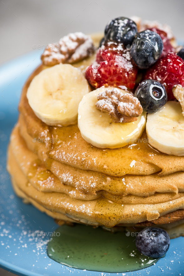 Close up view on pancakes on plate - Stock Photo - Images