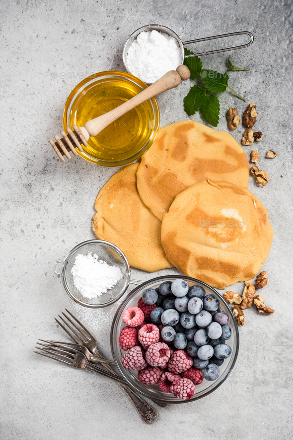 Recipe for perfect pancakes, border background - Stock Photo - Images