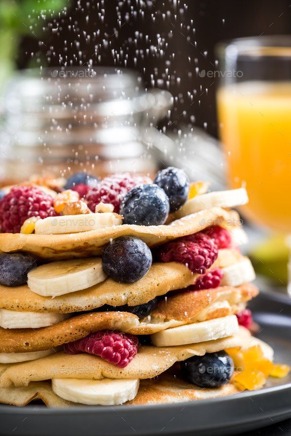 Pancakes tower stack for Pancake day or Shrove Tuesday - Stock Photo - Images