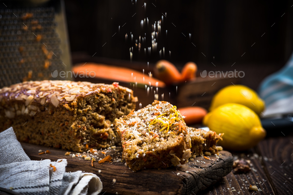 Slices of carrot cake served for Easter celebration - Stock Photo - Images