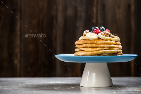 Healthy brunch,pancakes with berries - Stock Photo - Images