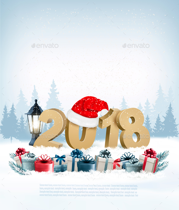 GraphicRiver Happy New Year 2018 Background with Presents 21188446