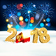 Happy New Year 2018 Background With Fireworks