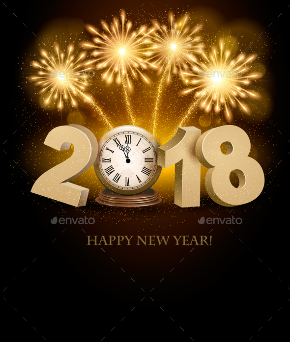 Happy New Year 2018 Background with Fireworks - New Year Seasons/Holidays