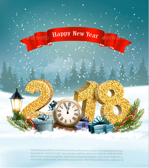 Happy New Year 2018 Background with Presents and Clock - New Year Seasons/Holidays
