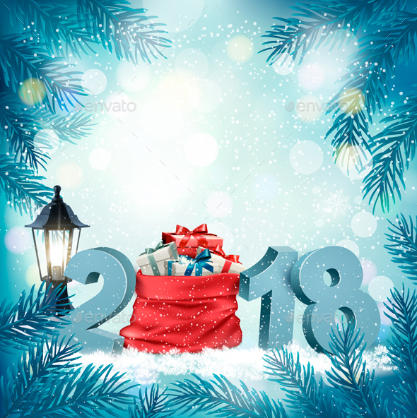 GraphicRiver Happy New Year 2018 Background with Presents and Red Sack 21188517