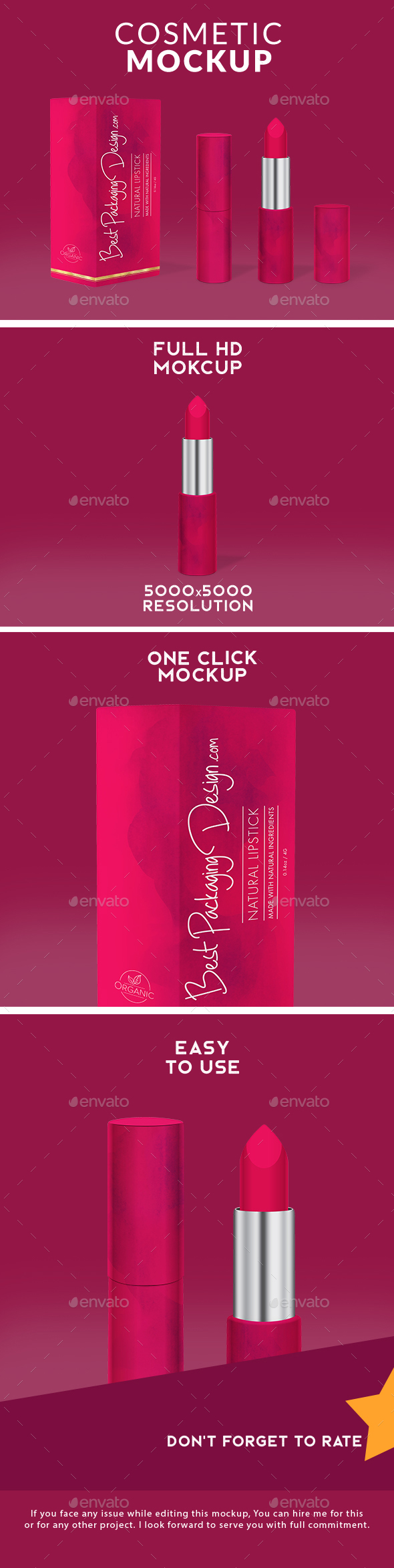 GraphicRiver Lipstick Packaging Mockup 21188825
