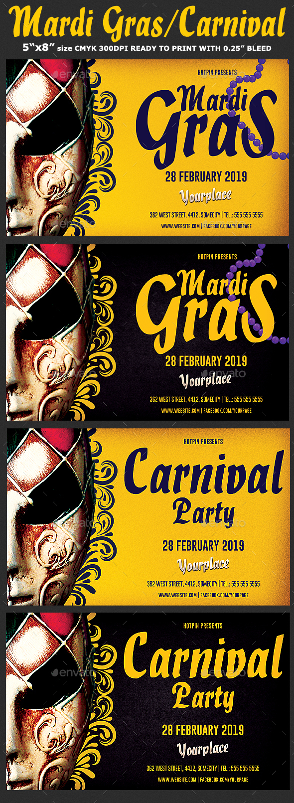 Carnival | Mardi Gras Flyer - Clubs & Parties Events