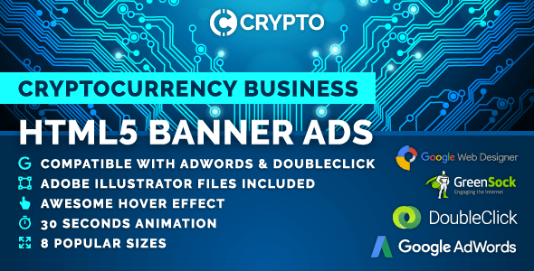 Crypto - Cryptocurrency Business HTML5 Banner Ad Templates (GWD, GSAP) - CodeCanyon Item for Sale
