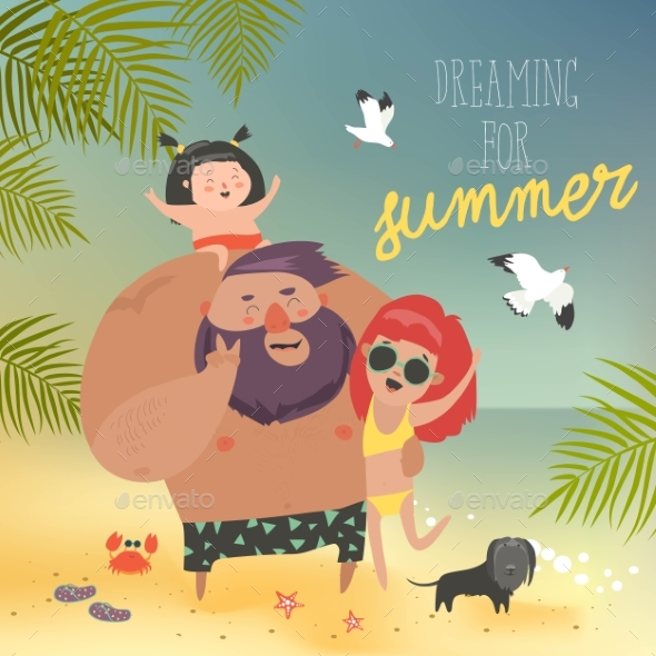 GraphicRiver Family at the Beach 21189028