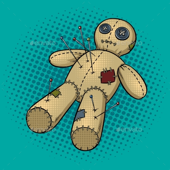 GraphicRiver Voodoo Doll Pop Art Vector Illustration 21189049