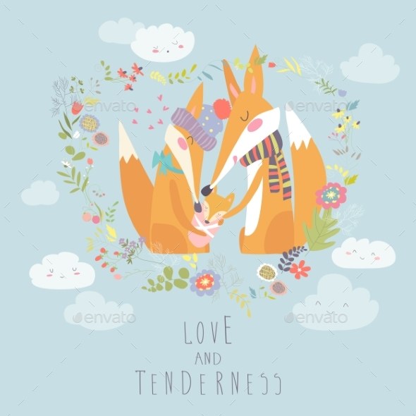 GraphicRiver Loving Fox Family 21189144