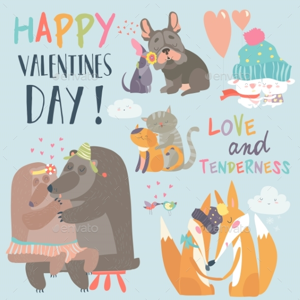 GraphicRiver Animal Couples in Love Collection 21189146