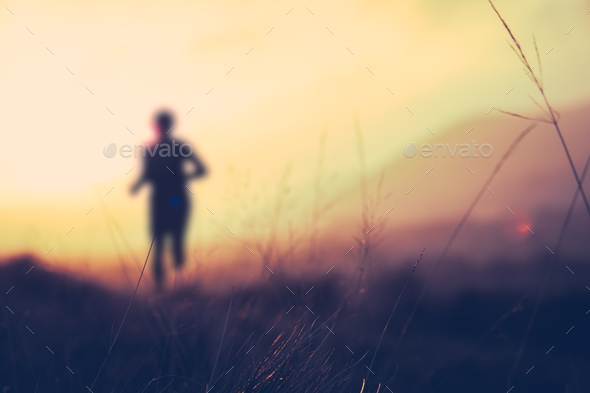 Hill Runner At Sunset - Stock Photo - Images