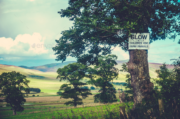 Rural Slow Sign - Stock Photo - Images