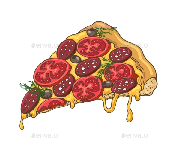 GraphicRiver Pizza Slice Icon on White 21189178