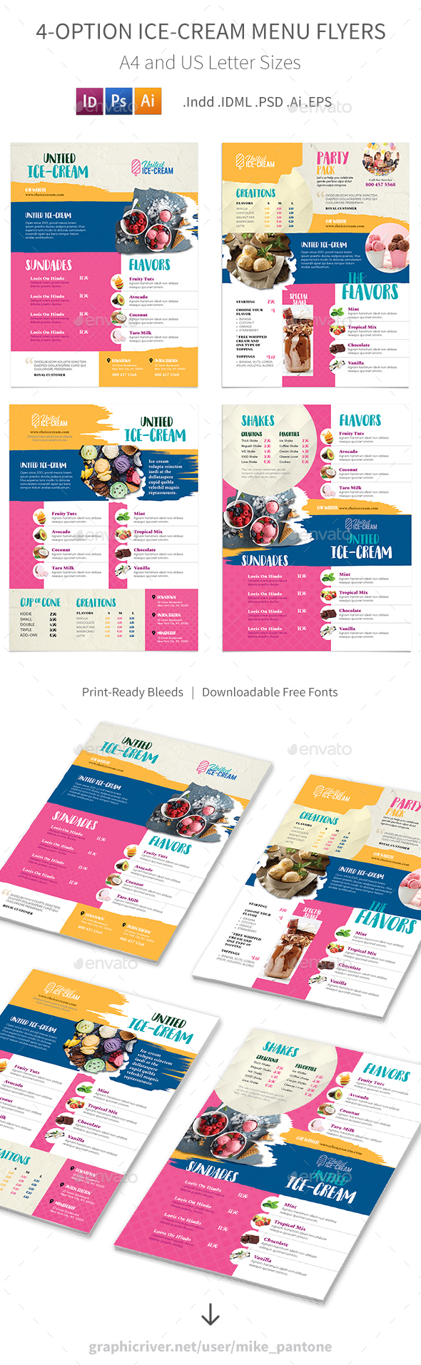 Ice-cream Restaurant Menu Flyers 3 – 4 Options - Food Menus Print Templates