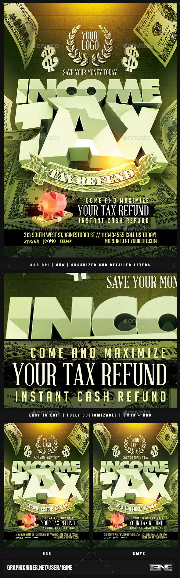 Income Tax Flyer Template by 1GINE | GraphicRiver