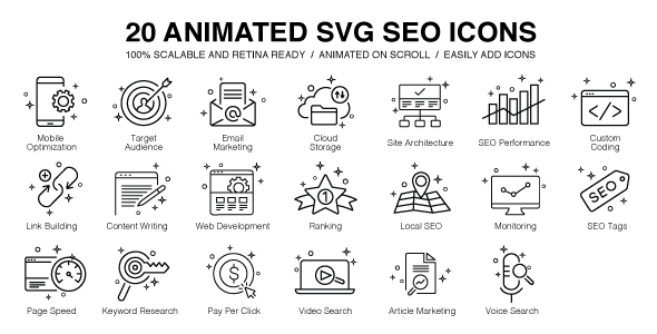 Download Source code              20 Animated SVG SEO Icons            nulled nulled version