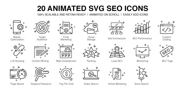 20 Animated SVG SEO Icons