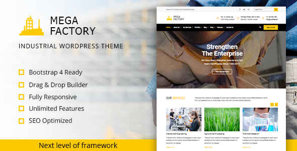 Mega Factory - Industrial WordPress Theme