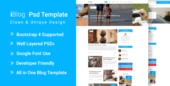 ThemeForest IronBlog Blog Magazine Website PSD Template 21095245
