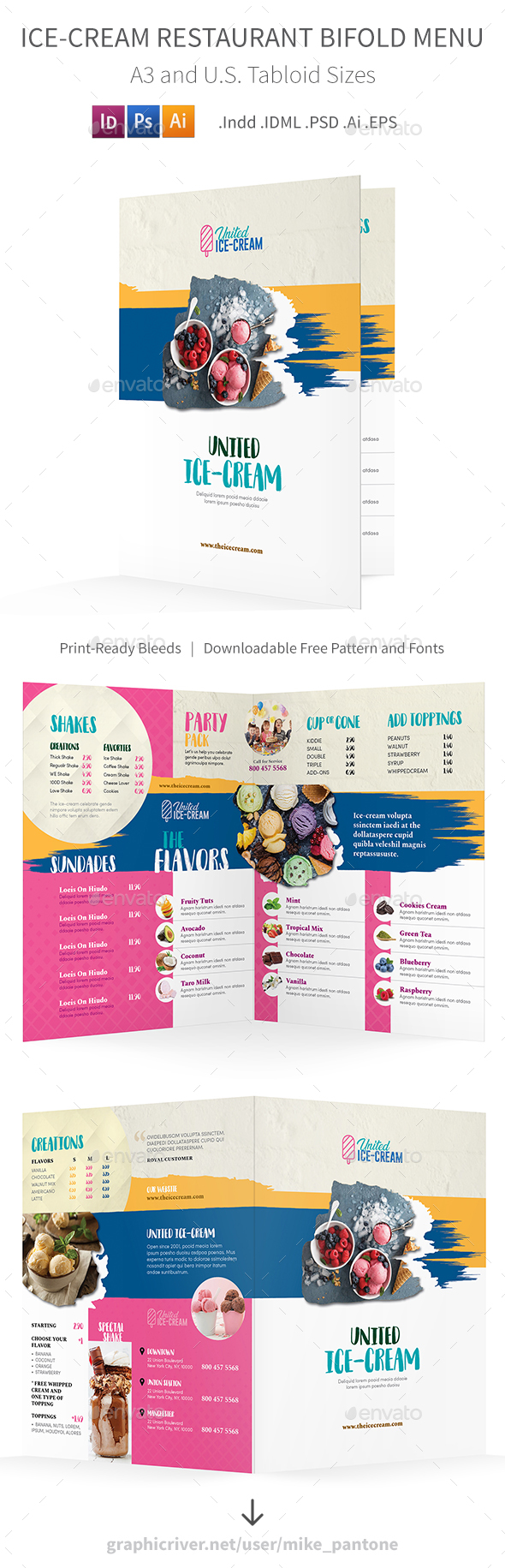 GraphicRiver Ice-cream Restaurant Bifold Halffold Menu 3 21189396